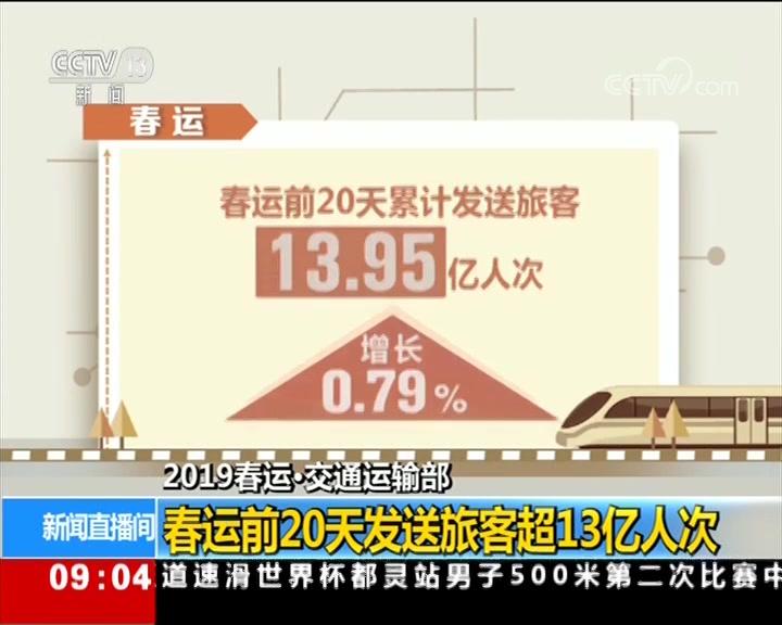 交通运输部:春运前20天发送旅客超13亿人次